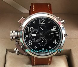 Discount self luminous watch automatic - 50mm black dial Left hand type Automatic Self-Wind movement multi-function luminous Men's watches pa64-p8