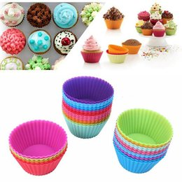 cupcake baking Australia - Round Silicone Muffin Cup Cases Cake Cupcake Baking Moulds 7cm Reusable & Nonstick Muffin Cups Kitchen Gadgets Tools