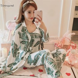 Wholesale womens sexy robes online – 3 Womens Sets Women Pajama Pajamas Spring And Summer Furnishing Wear Sexy Sets Nightdress Robe Pant Female Pajamas