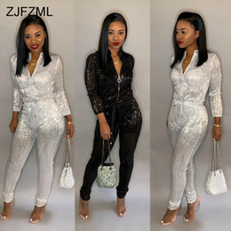 579debea2be8 Bronzing Sexy Rompers Womens Jumpsuit Black Stand Collar Long Sleeve One  Piece Overall Casual White Front Zipper Party Bodysuit