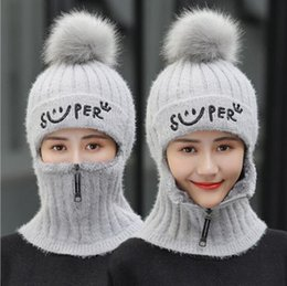 Wholesale Thick Lining Rabbit Hair Balaclava Knitted Winter Hats For Women Scarf Fake Collar Zipper Smile Beanies Cap For Girl Neck Warmer