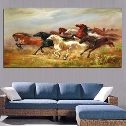 Horse pictures for living room wall online shopping - A Group of Colorful Running Horse Animals Oil Painting Home Decor Artistic Canvas Modern Wall Art Picture For Living Room