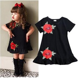 $enCountryForm.capitalKeyWord NZ - Newborn Toddler Kids Baby Girls Embroidery Flower Short Sleeve Ruffled Summer Party Casual Loose Dress Sundress Clothes 0-4T