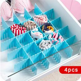 Venta al por mayor de 4pcs DIY cajón de plástico red de divisores ajustables maquillaje del cajón Divisores de cajones de almacenamiento de cuadrícula Para el hogar ordenado armario ropa interior calcetines DBC BH3262