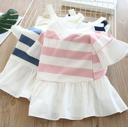 Lolita Flared Dress Australia - 2019 Summer new Girls stripe dress shirt kids dew shoulder princess tops children V-neck flare sleeve splicing falbala dress F5323