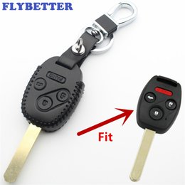$enCountryForm.capitalKeyWord Australia - FLYBETTER Genuine Leather 4Button Remote Key Case Cover For Honda Accord Fit Civic Odyssey Car Styling L403