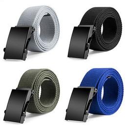 Cotton Webbing Belts Australia - Hot 120CM Canvas Belts Mens Womens Unisex Cotton Canvas Fabric Webbing Black Buckle Belt Army 5Colors Fashion