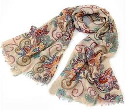 Удивительные 170 см*80 см старинные Осень Зима шарфы женщины дамы шарф обернуть Шаль новая красота печати мягкий шарф на Распродаже