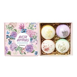 lavender bath bombs Canada - 4pcs set Dried Flower Bath Salt Bombs Gift Set,For Home Spa Ball Bubbles Craft Lavender Natural Bath Bomb Skin Care