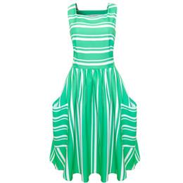 $enCountryForm.capitalKeyWord UK - Women Square Neck Sleeveless Striped Print Bodycon Formal Party Ball Gown Dress 2019 New Fashion Holiday Ladies Dresses #D