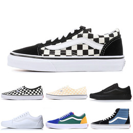 bdefd5de4b Vans Designer Shoes Authentic Old Skool sk8-hi Skool Canvas Shoes Triple  Black White PRIMAR CHECKERBOARD Mens Women Skate Casual Sneakers