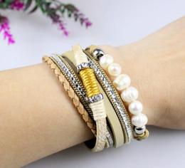 $enCountryForm.capitalKeyWord NZ - Fashion Korean style natural freshwater pearl diamond multi-layer hand-made magnet buckle bracelet
