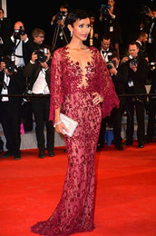 red lace zuhair murad mermaid Australia - Zuhair Murad Burgundy Lace Bead Mermaid Formal Evening Dresses With Long Sleeve Sonia Rolland Red Carpet Celebrity Dress Prom Gowns