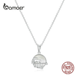 Bamoer jewelry necklaces online shopping - bamoer Strolling Cat Animal Pendant Necklace for Women Sterling Silver Natural Shell Chain Necklace Korean Jewelry SCN334