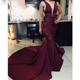 deep burgundy evening dresses Australia - Burgundy Mermaid Arabic Dubai Evening Dresses Deep V Neck Beading Lace Formal Evening Gown Sweep Train Party Dress