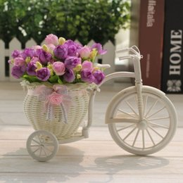 wedding bicycle Australia - Diy Plastic White Tricycle Bike Flower Basket Bicycle Container For Flower Plant Home Wedding Party Decoration Wreaths