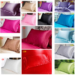 wholesale double beds 2020 - 15styles Christmas Solid Color Silk PillowCases Double Face Pillow Case Charmeuse Silk Satin Pillow Cover Bedding Suppli
