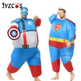 $enCountryForm.capitalKeyWord Australia - fancy dress JYZCOS Inflatable Fat Superman Batman Captain America Halloween Costumes for Adult Kids Party Cosplay Superhero Fancy Dress