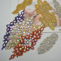$enCountryForm.capitalKeyWord Australia - 2 pcs Sew Iron On Beaded rhinestone applique trimming for wedding Bridal Dress Belt Motif