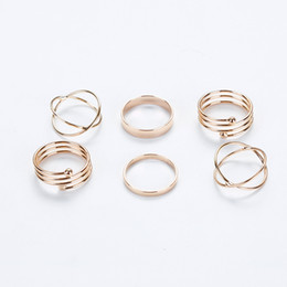$enCountryForm.capitalKeyWord Australia - 6 pcs Set Punk Gold-Color stackable Knuckle midi rings for women Finger Ring set bague Ring Set angel Band Rings
