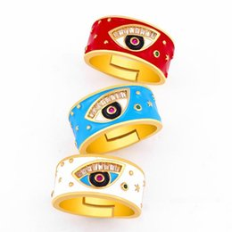 Ring eye online shopping - Creative Micro Inlay Zircon Eyes Rings Drops Glaze Red Blue White Opening Finger Band Rings Women Men Adjustable Ring Designer Jewelry Gifts