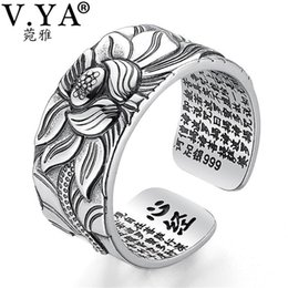 $enCountryForm.capitalKeyWord Australia - V.ya 100% Real 999 Pure Silver Jewelry Lotus Flower Open Ring For Men Male Fashion Free Size Buddhistic Heart Sutra Rings Gifts Y19062004