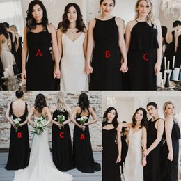 beach wedding dresses halter style 2020 - Black Chiffon Bridesmaid Dresses Long 2019 Mix Match Style A Line Halter Wedding Guest Gowns Beach Boho Maid Of Honor Dr