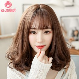 $enCountryForm.capitalKeyWord Australia - Seven Street Wig Woman Pear Blossom Head Long Curly Hair Atmosphere Together Fringe Girl Student Wig Shave Hairstyle Wig