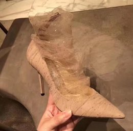 Lace Shoes For Women NZ - New women shoes for early spring 2019 sequin mesh lace high heel stiletto back zipper pointed ladies single Pointed sexy dream shoes