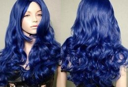 fast cosplay shipping Australia - LL NEW dark blue long curly cosplay wigs +wig cap fast Shipping