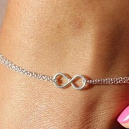 infinity anklets NZ - Beach Barefoot Jewelry Infinity Charm Beach Anklets Double Layer Chain Fashion Anklet Design In Silver Ankle Link Chains Women Wholesale