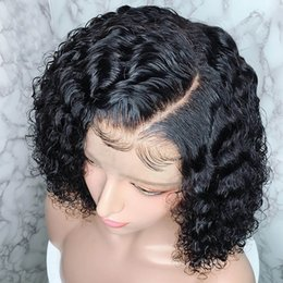 short curly bob wigs Canada - Short Lace Front Human Hair Wigs Fake Scalp Bob Curly Wigs Pre-Plucked Natural Hairline With Baby Hair wowwigs Wigs Virgin Hair