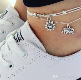 Sun Feather NZ - 20 styles Vintage Multiple Layers Anklets for Women Elephant Sun Pendant Charms Rope Chain Beach Summer Foot Ankle Bracelet Jewelry ALXY03