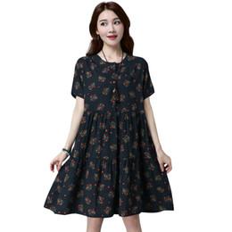 Kimono Floral Plus NZ - Fashion Women Large Size Dress Floral Print O Neck Short Sleeve 5XL Plus Size Summer Dress Cotton Beach Oversized Casual Dress