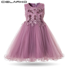 neck frock dresses UK - Flower Girls Dress Wedding Party Dresses for Kids Pearls Formal Ball Gown 2020 Evening Baby Outfits Tulle Girl Frocks