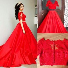 Dress Chart Australia - Red Two-piece Evening Dresses Quinceanera Sweet 15 Girl Prom Party Wears Satin Skirt Vestido De Soiree Formal Gowns Long BA5148