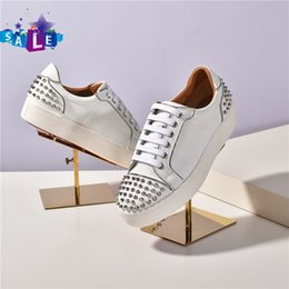 spike mat UK - Wholesale NEW Spike Krystal Sock Donna Flat 30Mm Height White Snow Black Mat Version Loubi Silver Sneakers