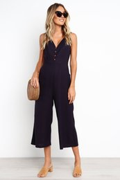$enCountryForm.capitalKeyWord Australia - Summer New Women's Jumpsuits Sexy V-neck Backless Suits with Button for Women Loose Casual Large Size Capris Jumpsuits S-XL