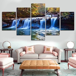 Cartoon Lake Australia - 5pcs set Unframed Lake Trees and Clouds HD Print On Canvas Wall Art Picture For Home and Living Room Decor