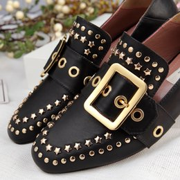Wholesale Brand Women Cow leather Chunky heel dress wedding shoe Fashion Rivets buckle Pearl Low Heel Pumps Office Lady Flats Single Shoe