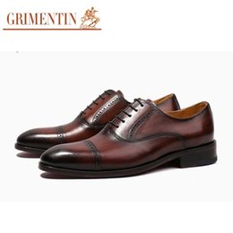 Grimentin Shoes UK - GRIMENTIN Hot sale brand customized handmade mens shoes genuine leather mens dress shoes Italian fashion business party mens wedding shoes