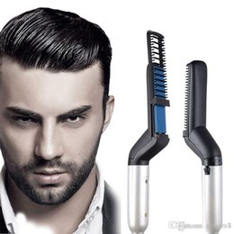 multi tourmaline NZ - Multi-functional Electric Comb Curling Iron Straighten Hair Curler Men Hair Styling Combs Quick Curling Straight Hair Brush