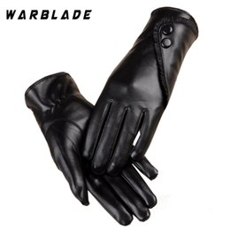 Leather Gloves For Men Australia - WarBLade Touch Screen PU Leather Gloves Women Winter Mittens Warm Gloves For Woman Guantes Mujer European Style Femme