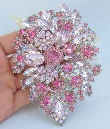 Rhinestone leaf bRooch online shopping - Elegant quot Pink Rhinestone Crystal Flower Leaf Brooch Pin Pendant EE03905C2
