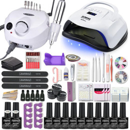 Ingrosso Manicure Set Kit per unghie acrilico con 120/80 / 54W Lampada per unghie 35000RPM Drill Drill Scegli gel lucidante tutto per manicure