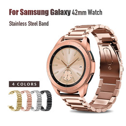 smart watch samsung galaxy NZ - 20mm Width Wristband Stainless Steel Watch Band For Samsung Galaxy 42mm Strap Metal Three links Watch Band