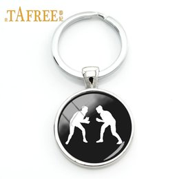 Vintage Glasses Round Australia - TAFREE Fashion Wrestling keychain student Gift Vintage Style Glass round pendant key chain ring holder jewelry WR09