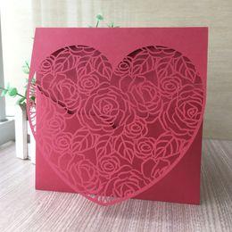 $enCountryForm.capitalKeyWord Australia - 50PCS  lot Luxury Laser Cut Hollow Envelope Wedding Invitation Cards Design Rose And Big Heart Party Engagement Grand Events Supplies