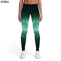 $enCountryForm.capitalKeyWord Australia - KYKU Galaxy Leggings Women Space Leggins Nebula Spandex Green Trousers Harajuku 3d Print Womens Leggings Pants Fitness