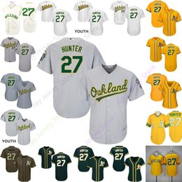 0f3e2f79e Custom Oakland 27 Catfish Hunter Jersey Athletics Jerseys Cooperstown  CoolBase Flexbase White Black Red Grey Home Away Men Women Youth Cheap